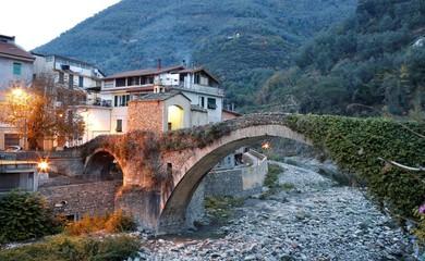 Wall Murals Liguria Badalucco, Liguria Imperia, ponte di sera