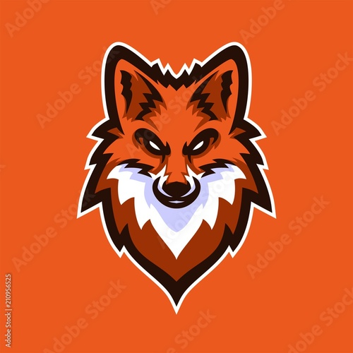 fox vulpes esport gaming mascot logo template stock image and
