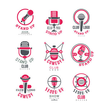 Comedy club stand up show logo design set vector Illustrations on a white background