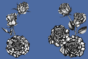 Awesome rose flowers. Hand drawn ink illustration. Invitations, Greeting Cards