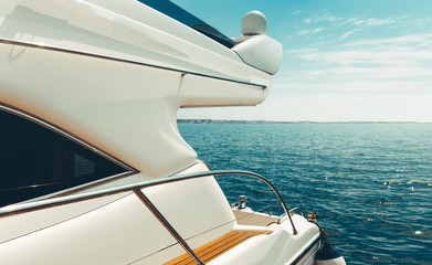 Summer Travel Vacation Adventure Concept. Cruise Yachts In Sea, Close-Up Copy space