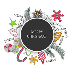 Grey Merry Christmas background with colorful decoration.