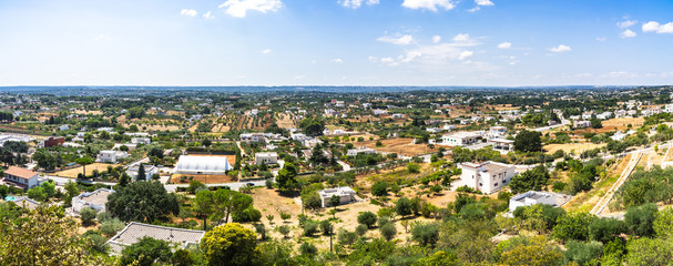 Wide panoramic view of the Itria Valley from the town of Cisternino, Apulia, Italy
