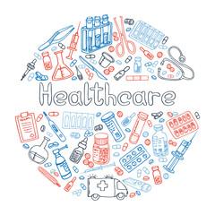medicine hand drawn doode vector illustration