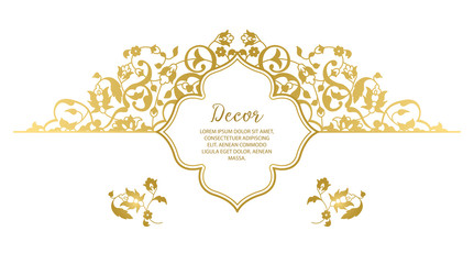 Vector gold ornamental decorative frame.