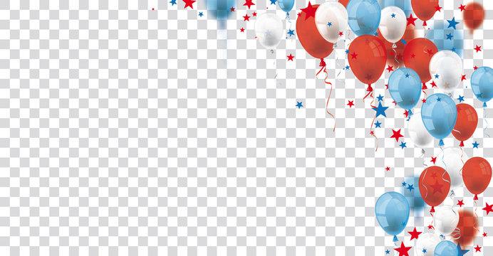 Balloons Stars USA Confetti Header