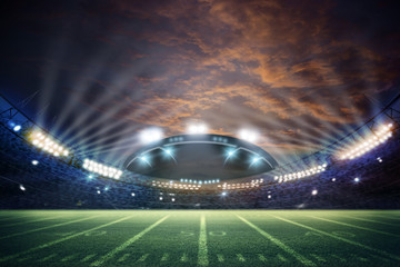 American Soccer Stadium 3d rendering. Mixed photos