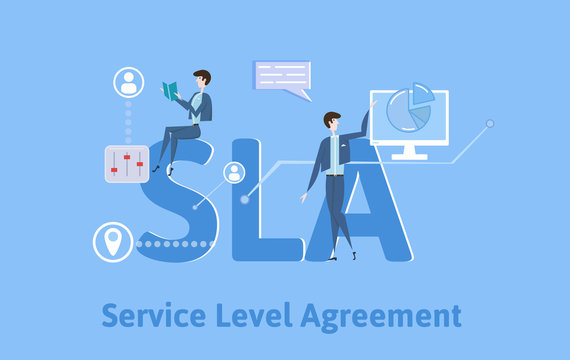 SLA, Service Level Agreement. Concept with keywords, letters and icons. Colored flat vector illustration on blue background.