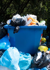Overflowing Waste Collection Bin Outdoors