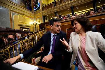 Spain's PM Sanchez and Spain's Deputy Prime Minister and Equality Minister Calvo attend attend a cabinet control session at Parliament in Madrid