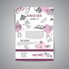 Hand drawn halloween newsletter template. Horror night poster background. Spooky party invitation Vector