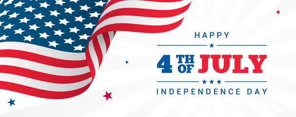 4th of July Banner Vector illustration, USA flag waving with stars on white rays background. Fotomurales