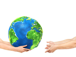 Eco concept. Hands are giving the planet into other hands on a white background