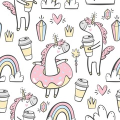 Custom vertical slats with your photo Vector seamless pattern with cute unicorn, donuts and coffee