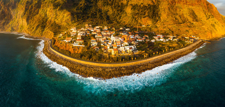 Aerial view of Jardim do Mar, surfing spot in Madeira Island, Portugal