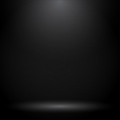 Black studio room with lighting effects and horizontal lines texture.