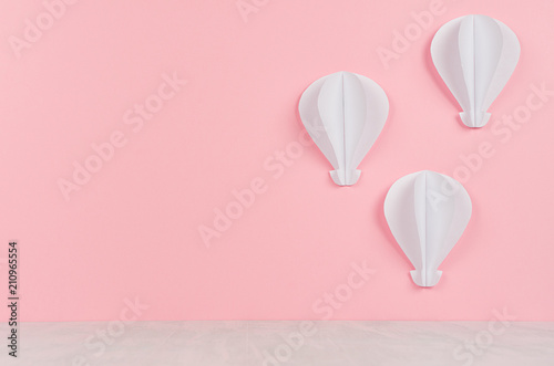 Decorative Paper Origami Hot Air Balloons On Pink Background And