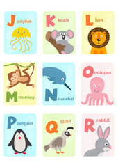 alphabet card with animals J to R  - vector illustration, eps