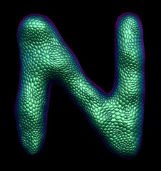 Letter N made of natural green snake skin texture isolated on black.