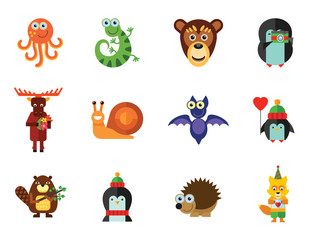 Funny Animals Icon Set. Monkey Face Funny Bee Bat Octopus Snail Penguin With Heart Balloon Penguin With Camera Funny Lizard Cartoon Hedgehog Cute Fox Moose With Flowers Penguin Beaver With Twig