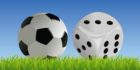 foot - football - pari en ligne - jeu en ligne - chance - concept - dés - parier - gagner - ballon de foot
