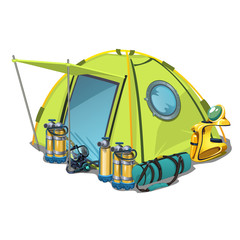Yellow tent with equipment for diving isolated on white background. Vector cartoon close-up illustration.
