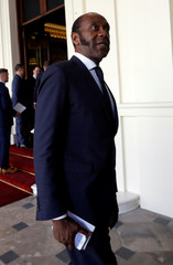 Lenny Henry arrives to attend the Queen's Young Leaders Awards at Buckingham Palace in London