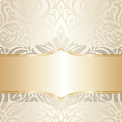 Floral wedding invitation wallpaper trend design in ecru & gold, with blank space gentle shiny