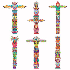 Traditional totem pole with tiki mask and eagle. Vector cartoon flat icons set isolated on white background.