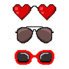 Pixel art sunglasses. Vector 8 bit game web icon set isolated on white background.