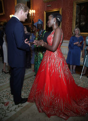 Britain's Prince Harry meets group of Queen's Young Leaders at a Buckingham Palace reception following the final Queen's Young Leaders Awards Ceremony, in London