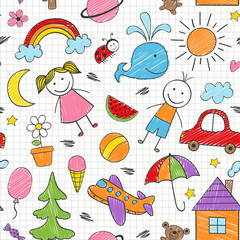 seamless pattern with colored kids drawings - vector illustration, eps