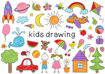 set of isolated colored kids drawing - vector illustration, eps