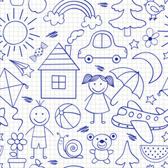 seamless pattern with kids drawings in blue color -  vector illustration, eps