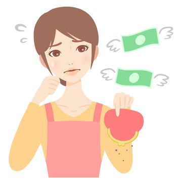 がま口財布を持つやりくり下手な若い主婦 エプロン 美人 フラット イラスト