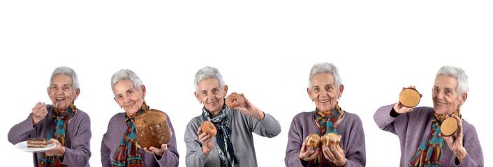senior woman eating sweet cakes on white background