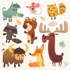 Cartoon forest animals set. Vector illustrated. Squirrel, mouse, raccoon, boar, fox, buffalo, bear, moose, bird. Isolated