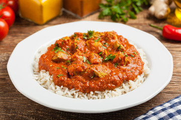 Traditional Indian and Pakistani cuisine. Tikka masala.