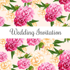 Wedding invitation card design with pink and white peonies in background. Text on white rectangular shape can be used for invitations, postcards, save the date templates