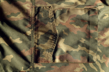 Military uniform pattern with pocket with blur effect.