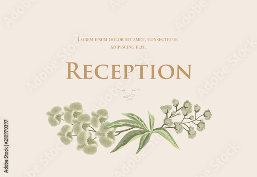 Wedding Reception Card Template With Iris And Lily Of Valley On