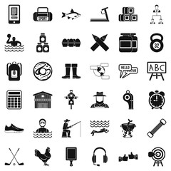 Sporting activity icons set. Simple style of 36 sporting activity vector icons for web isolated on white background