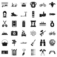 Nature adventure icons set. Simple style of 36 nature adventure vector icons for web isolated on white background