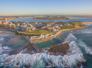 Newcastle Ocean Baths Aerial at Sunrise, Newcastle, Australia