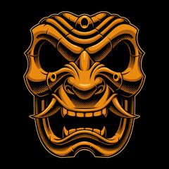 Samurai warrior mask (color version)