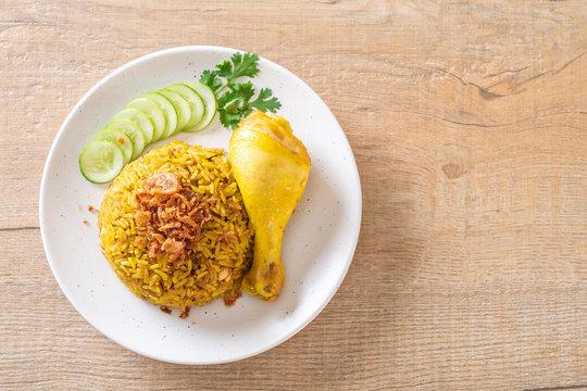 Muslim yellow rice with chicken