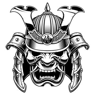 Samurai warrior mask (B&W version)