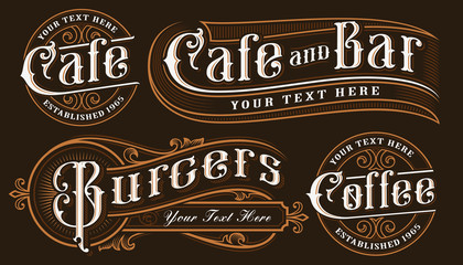 Set of vintage lettering illustrations of catering.