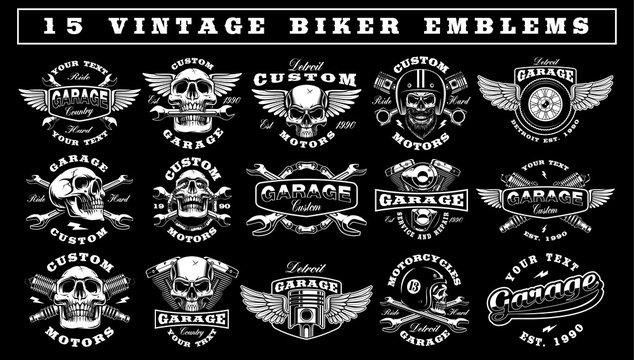 Set of Vintage Biker Emblems