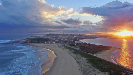 Nobbys Beach and Harbour Aerial at Sunset, Newcastle, Australia